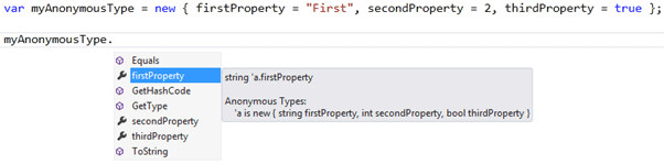 Intellisense support for anonymous type